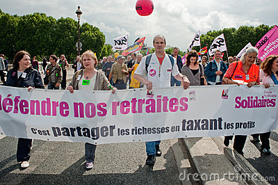 Retirement Rights Demonstration, Paris, France Editorial Stock Photo