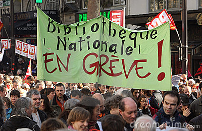 Retirement strike in Paris Editorial Stock Photo