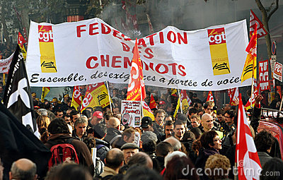 Retirement strike in Paris Editorial Stock Image