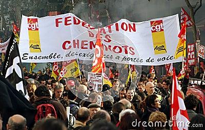 Retirement strike in Paris Editorial Stock Image