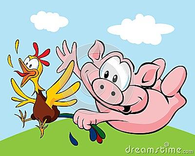 Retén del cerdo una gallina