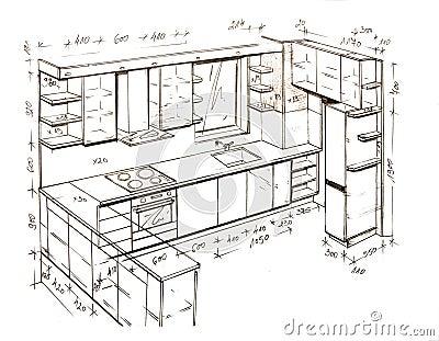 Retrait de dessin main lev e moderne de conception for Perspective cuisine dessin