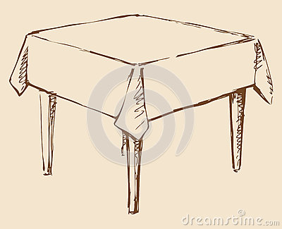 Retrait de vecteur table carr e avec la nappe illustration for Nappe de table carre