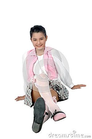 Retrato da rapariga do asiático do adolescente