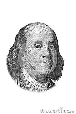 Retrato de Franklin em cem dólares de conta.