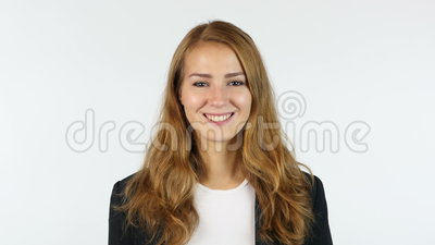 Retrato de la empresaria joven, muchacha, fondo blanco
