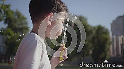 Retrato de las burbujas de jabón del niño pequeño que soplan bonito Tiempo lindo del gasto del niño solamente al aire libre Ocio  metrajes