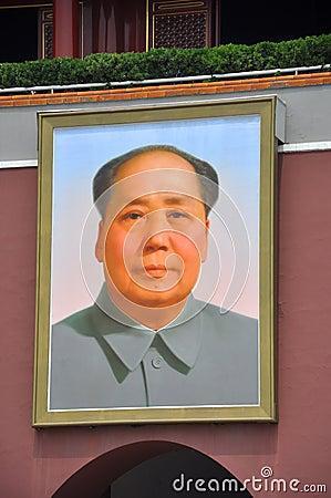 Retrato de Mao Zedong en Tiananmen Fotografía editorial
