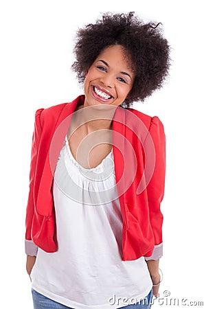 Retrato de uma mulher bonita do americano africano