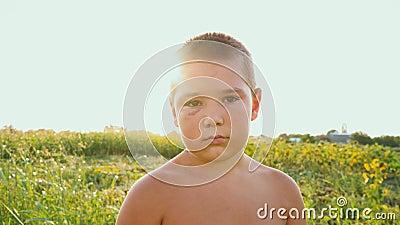 Retrato de un muchacho rechoncho con un ojo morado en el fondo de un campo verde, de un niño triste con un torso desnudo y de a almacen de metraje de vídeo