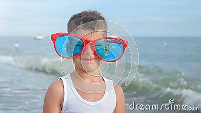 Retrato de un pequeño viajero sonriente que usa grandes gafas rojas graciosas que muestran un pulgar fresco arriba almacen de video