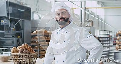 Retrato del hombre carismático del panadero con la barba que sonríe bastante delante de la cámara en una panadería comercial de l almacen de video