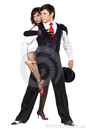 Retrato do levantamento novo dos dançarinos do tango da elegância