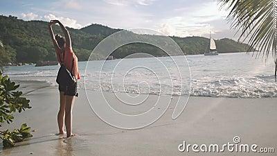 Retrato lateral de una mujer joven que respira el aire fresco, colocándose en una playa metrajes