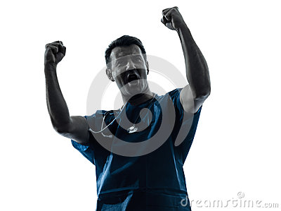Retrato triunfante de la silueta del hombre del doctor