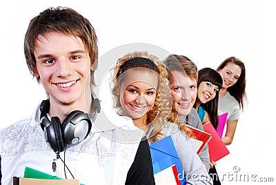 Retratos de estudiantes jovenes felices