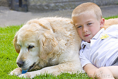 Retriever and boy