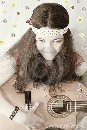 retro 60s teen girl guitar