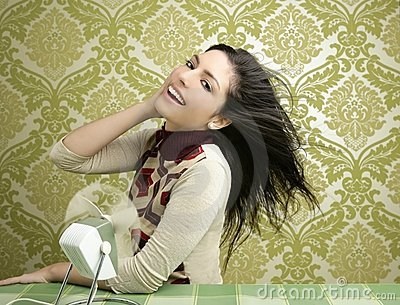 Retro air fan woman vintage sixties wallpaper