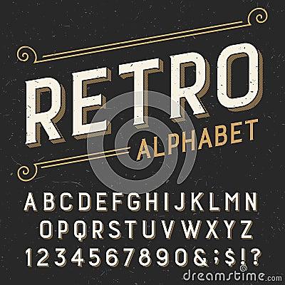 Free Retro Alphabet Vector Font. Stock Photo - 57620640