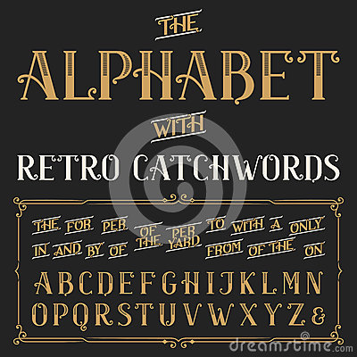Free Retro Alphabet Vector Font With Catchwords. Royalty Free Stock Photos - 57786318