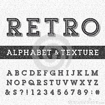 Free Retro Alphabet Vector Font With Distressed Overlay Texture. Stock Photography - 58077872