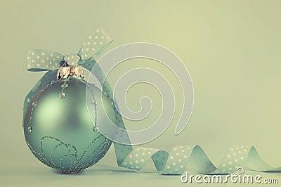 Retro aqua blue Christmas tree ornament Stock Photo