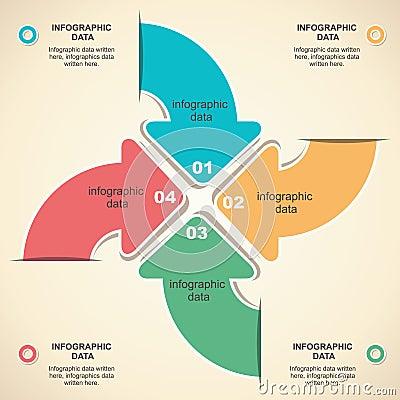 Retro arrow infographic design