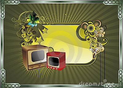Retro art composition illustration vector