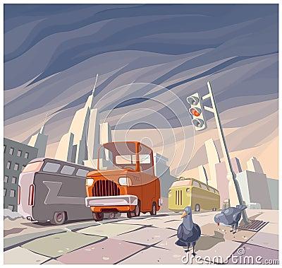 Retro- Auto der orange Karikatur