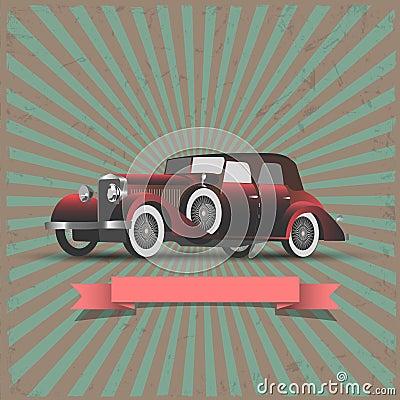 Retro- Auto mit Farbbandfahne