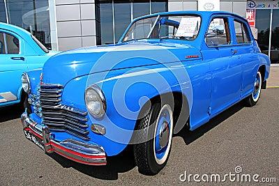 Retro auto show. Blue GAZ Pobeda (Soviet-made auto Editorial Stock Photo