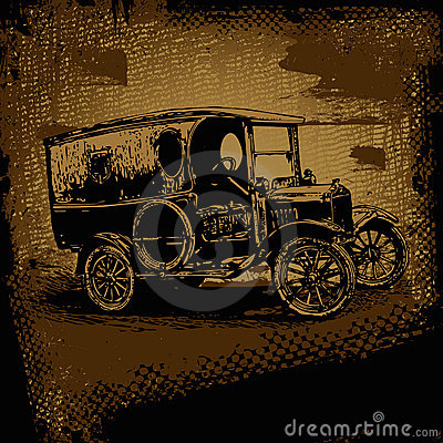 Retro automobile and retro scratch background