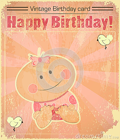 Retro Baby Girl birthday Card