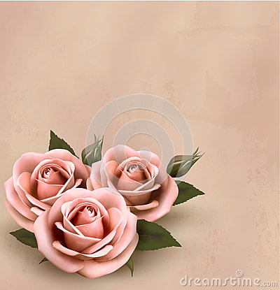 Retro background with beautiful pink roses