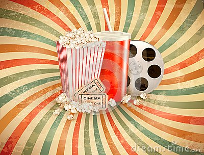 Retro background with Popcorn and a drink.
