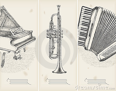 Retro banners-  piano, trumpet, accor