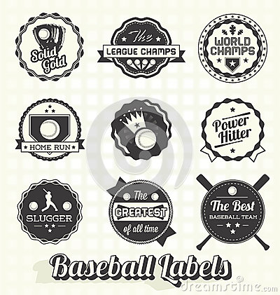 Retro Baseball Labels and Icons