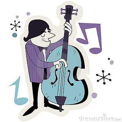 Retro Bass Player Illustration