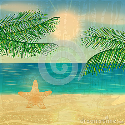 Retro Beach Illustration Royalty Free Stock Photo - Image ...