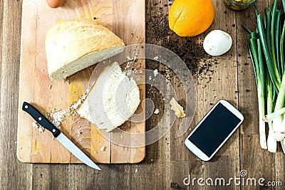 Retro beeld van een organische keuken met smartphone stock foto afbeelding 58888957 - Beeld van eigentijdse keuken ...