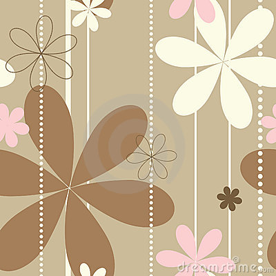 Free Retro Beige Floral Seamless Pattern Stock Photos - 8385583