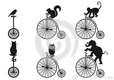 Retro bicycle with animals, vector set