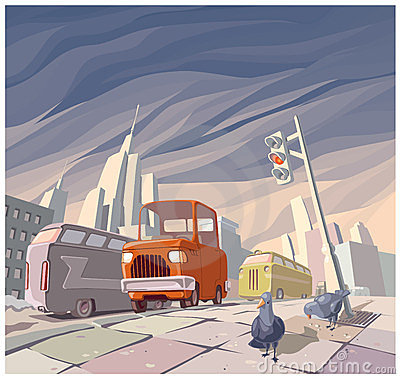 Retro bil för orange tecknad film