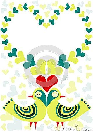 Retro Birds In Love Valentines Day Card