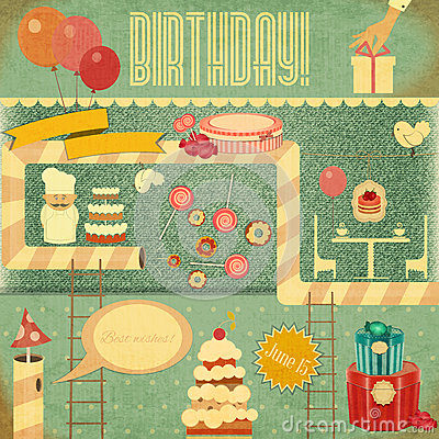 Free Retro Birthday Card Stock Image - 32378341