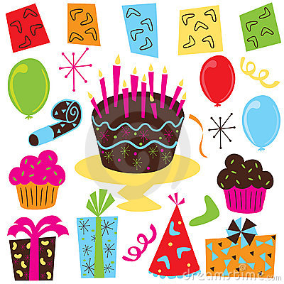 Free Retro Birthday Party Clip Art Royalty Free Stock Photography - 8382187