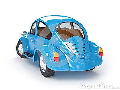 Retro blue car back