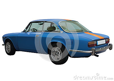Retro blue car in vector