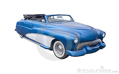 Retro blue convertible